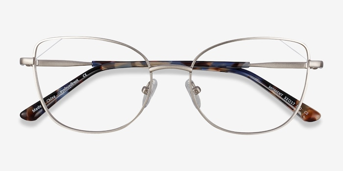 Moment Silver Metal Eyeglass Frames from EyeBuyDirect, Closed View