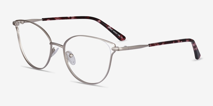 Trance Silver Metal Eyeglass Frames from EyeBuyDirect, Angle View