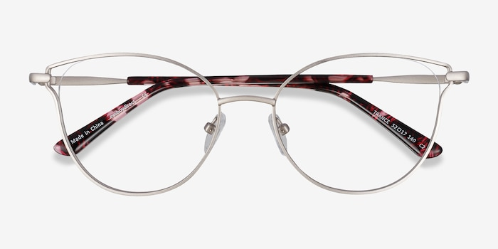 Trance Silver Metal Eyeglass Frames from EyeBuyDirect, Closed View