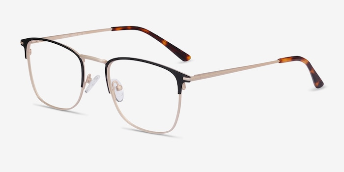 Poppy Black Gold Metal Eyeglass Frames from EyeBuyDirect, Angle View