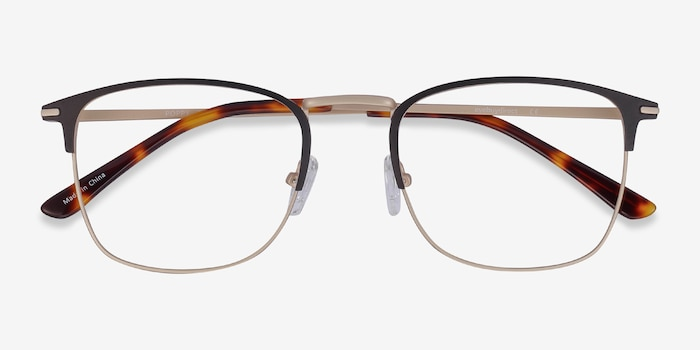 Poppy Black Gold Metal Eyeglass Frames from EyeBuyDirect, Closed View