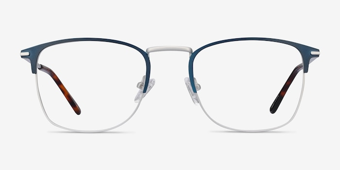Poppy Navy Metal Eyeglass Frames from EyeBuyDirect, Front View