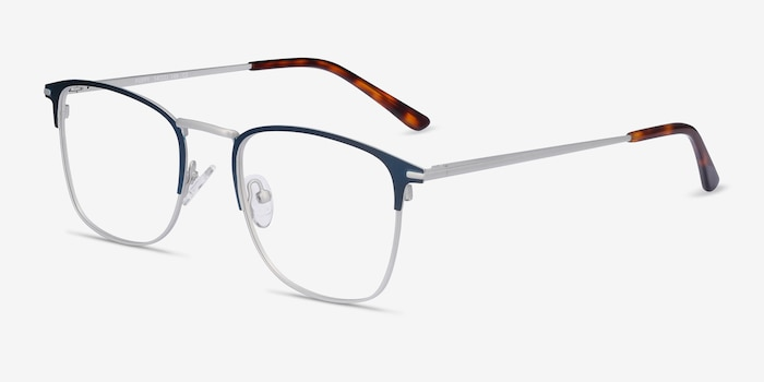 Poppy Navy Metal Eyeglass Frames from EyeBuyDirect, Angle View