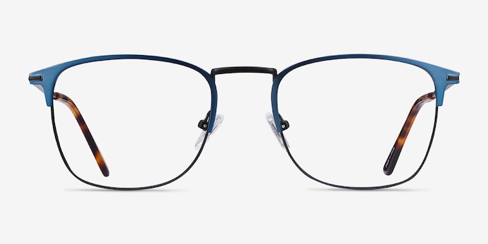 Poppy Navy Black Metal Eyeglass Frames from EyeBuyDirect, Front View