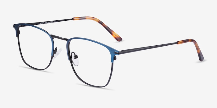 Poppy Navy Black Metal Eyeglass Frames from EyeBuyDirect, Angle View