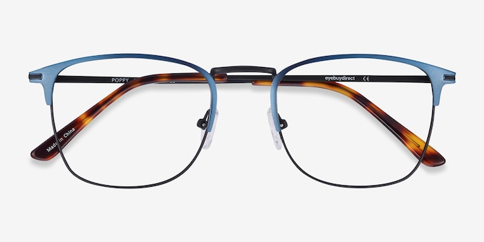 Poppy Navy Black Metal Eyeglass Frames from EyeBuyDirect, Closed View
