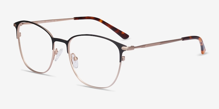 Disperse Black Metal Eyeglass Frames from EyeBuyDirect, Angle View