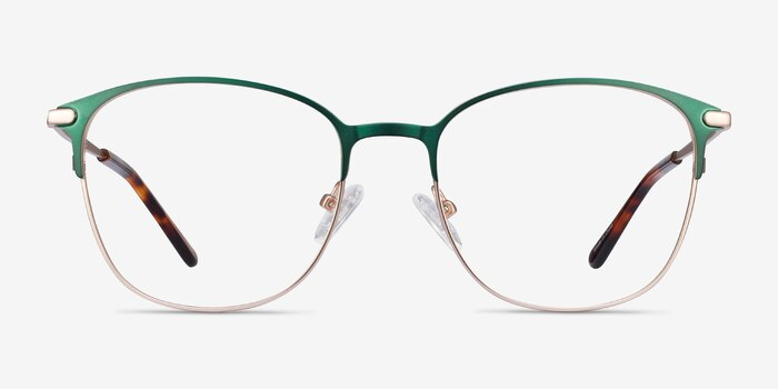 Disperse Green Metal Eyeglass Frames from EyeBuyDirect, Front View