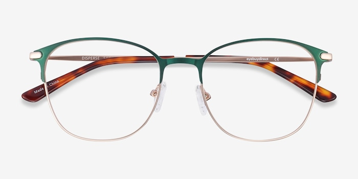 Disperse Green Metal Eyeglass Frames from EyeBuyDirect, Closed View