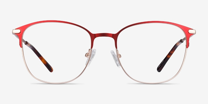 Disperse Red Metal Eyeglass Frames from EyeBuyDirect, Front View