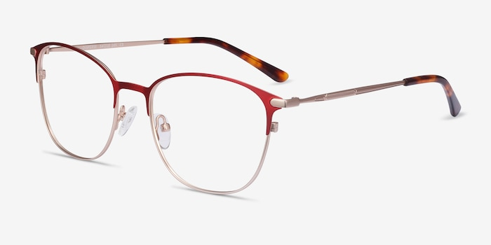 Disperse Red Metal Eyeglass Frames from EyeBuyDirect, Angle View