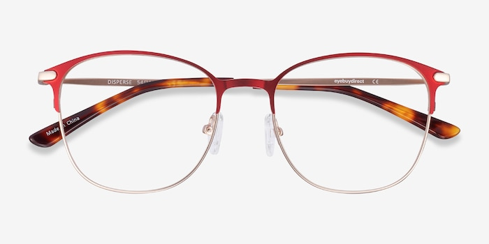 Disperse Red Metal Eyeglass Frames from EyeBuyDirect, Closed View