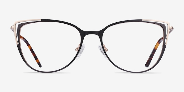 Garance Black Gold Metal Eyeglass Frames from EyeBuyDirect, Front View