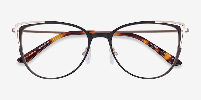 Garance Black Gold Metal Eyeglass Frames from EyeBuyDirect, Closed View