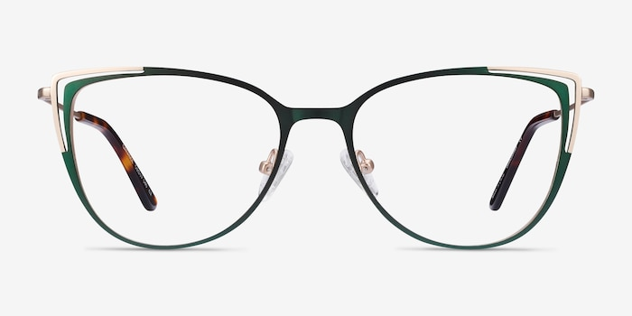 Garance Green & Gold Metal Eyeglass Frames from EyeBuyDirect, Front View