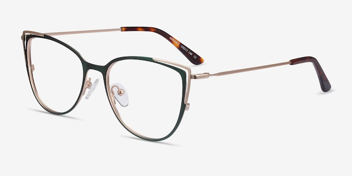 Garance Green & Gold Metal Eyeglass Frames from EyeBuyDirect, Angle View