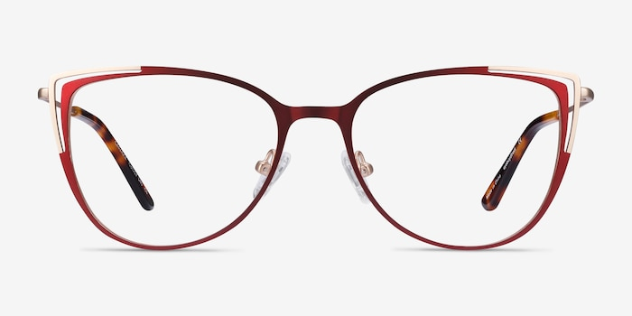 Garance Red & Gold Metal Eyeglass Frames from EyeBuyDirect, Front View