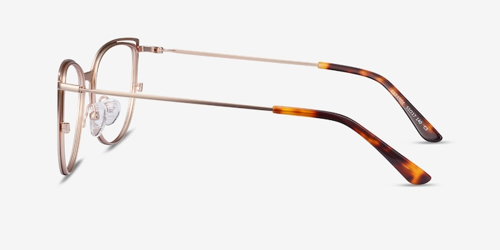 Garance Red & Gold Metal Eyeglass Frames from EyeBuyDirect, Side View