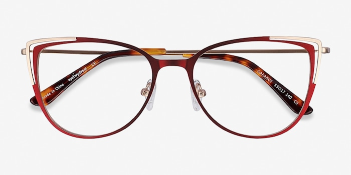 Garance Red & Gold Metal Eyeglass Frames from EyeBuyDirect, Closed View