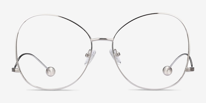 Renata Silver Metal Eyeglass Frames from EyeBuyDirect, Front View