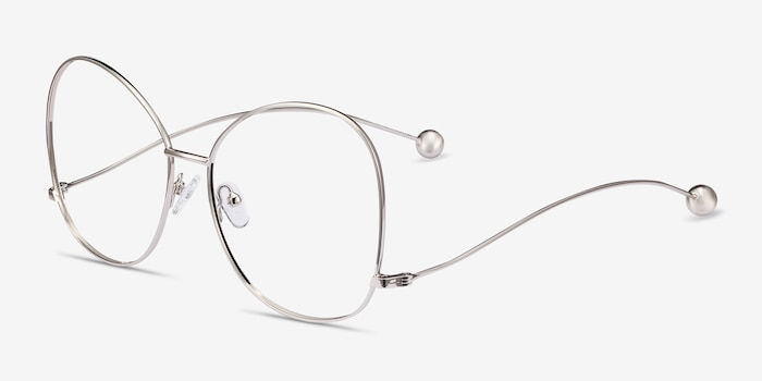 Renata Silver Metal Eyeglass Frames from EyeBuyDirect, Angle View