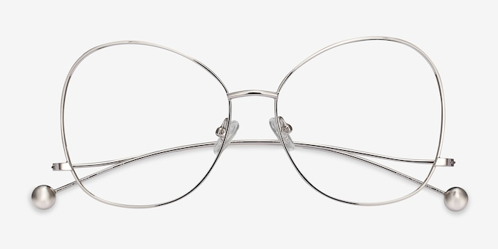 Renata Silver Metal Eyeglass Frames from EyeBuyDirect, Closed View