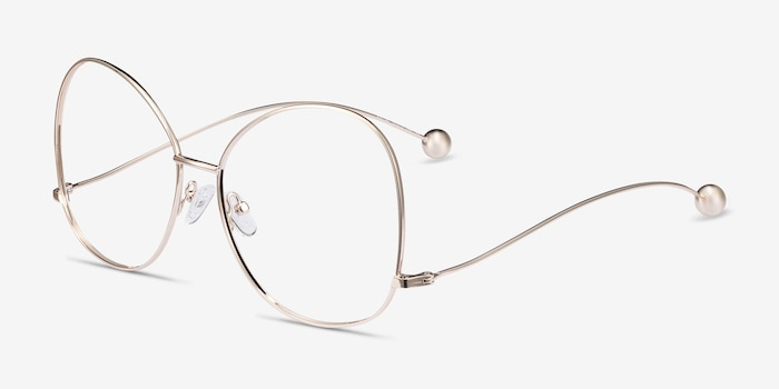 Renata Gold Metal Eyeglass Frames from EyeBuyDirect, Angle View