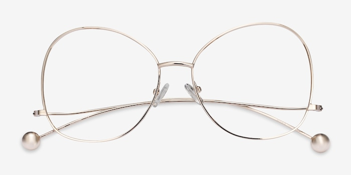 Renata Gold Metal Eyeglass Frames from EyeBuyDirect, Closed View