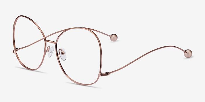 Renata Rose Gold Metal Eyeglass Frames from EyeBuyDirect, Angle View