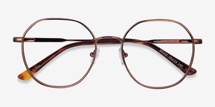 Sylvie Brown Metal Eyeglass Frames from EyeBuyDirect, Closed View