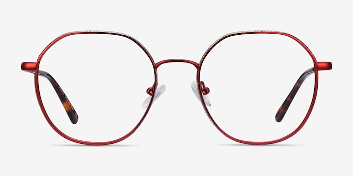 Sylvie Red Metal Eyeglass Frames from EyeBuyDirect, Front View