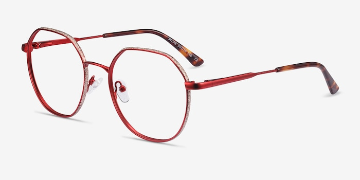 Sylvie Red Metal Eyeglass Frames from EyeBuyDirect, Angle View