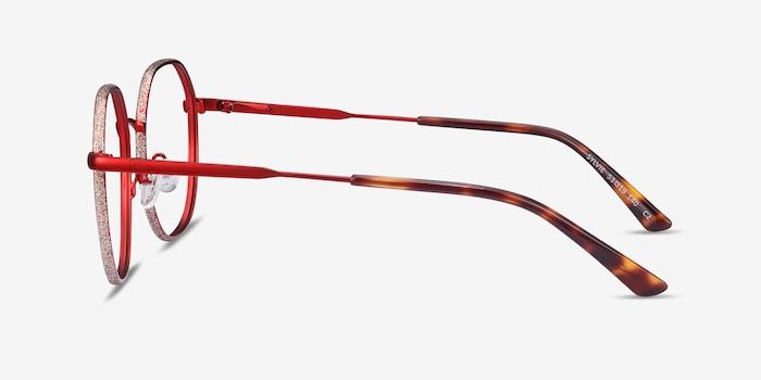 Sylvie Red Metal Eyeglass Frames from EyeBuyDirect, Side View