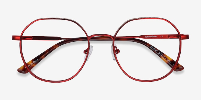 Sylvie Red Metal Eyeglass Frames from EyeBuyDirect, Closed View