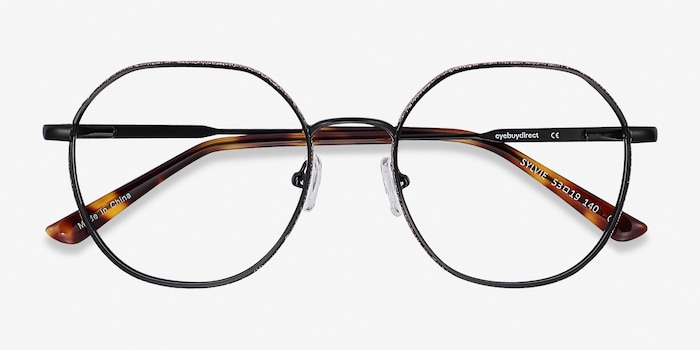 Sylvie Black Metal Eyeglass Frames from EyeBuyDirect, Closed View