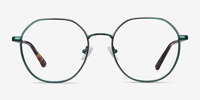 Sylvie Green Metal Eyeglass Frames from EyeBuyDirect, Front View