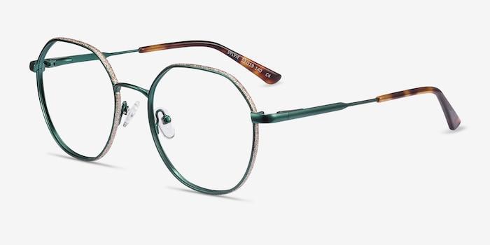Sylvie Green Metal Eyeglass Frames from EyeBuyDirect, Angle View