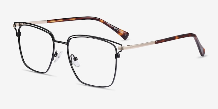 Hewitt Black Gold Metal Eyeglass Frames from EyeBuyDirect, Angle View