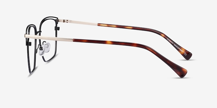 Hewitt Black Gold Metal Eyeglass Frames from EyeBuyDirect, Side View