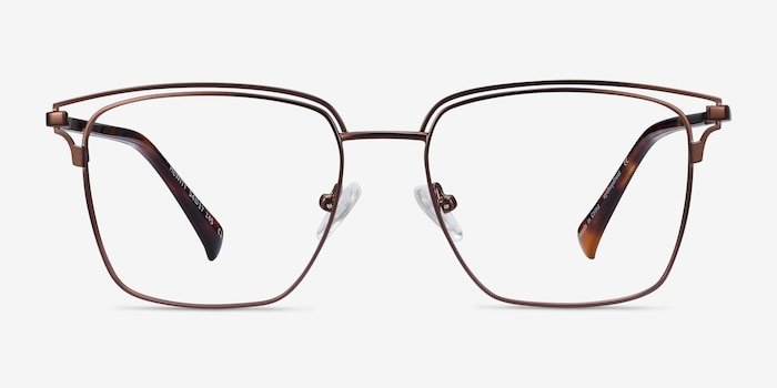 Hewitt Coffe Metal Eyeglass Frames from EyeBuyDirect, Front View