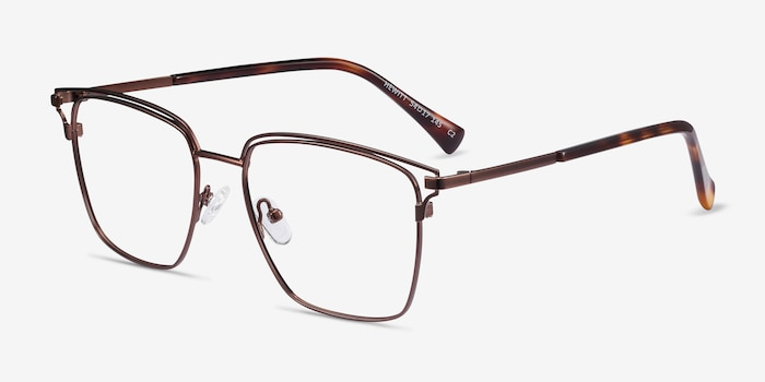 Hewitt Coffe Metal Eyeglass Frames from EyeBuyDirect, Angle View