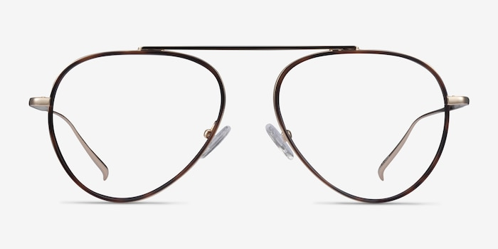 Cana Tortoise  Gold Metal Eyeglass Frames from EyeBuyDirect, Front View