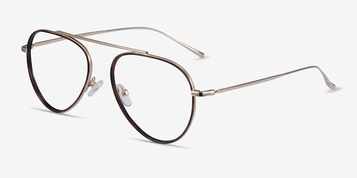 Cana Tortoise  Gold Metal Eyeglass Frames from EyeBuyDirect, Angle View
