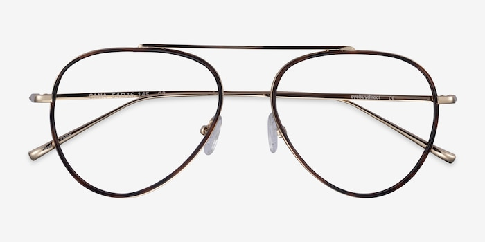 Cana Tortoise  Gold Metal Eyeglass Frames from EyeBuyDirect, Closed View