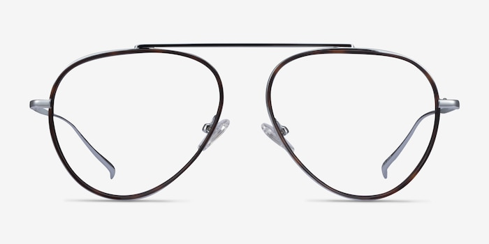 Cana Tortoise  Silver Metal Eyeglass Frames from EyeBuyDirect, Front View