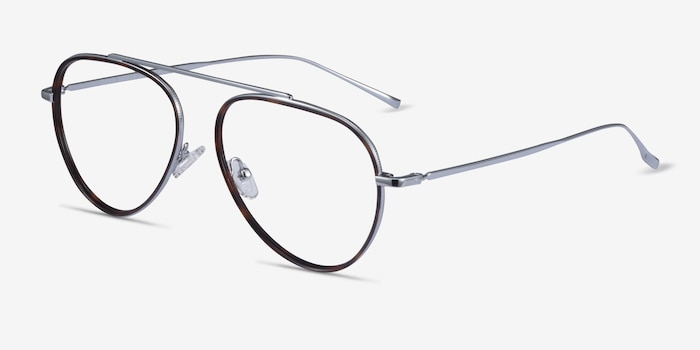 Cana Tortoise  Silver Metal Eyeglass Frames from EyeBuyDirect, Angle View