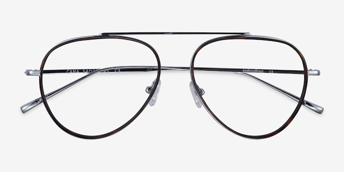 Cana Tortoise  Silver Metal Eyeglass Frames from EyeBuyDirect, Closed View