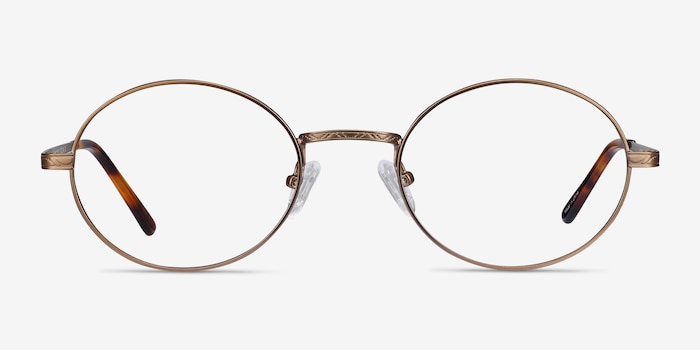Equinox Bronze Metal Eyeglass Frames from EyeBuyDirect, Front View
