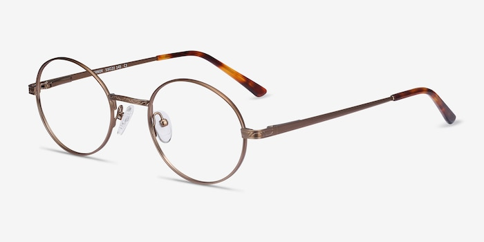 Equinox Bronze Metal Eyeglass Frames from EyeBuyDirect, Angle View