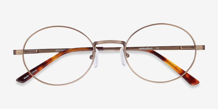Equinox Bronze Metal Eyeglass Frames from EyeBuyDirect, Closed View